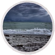 Storm's Rolling In Round Beach Towel