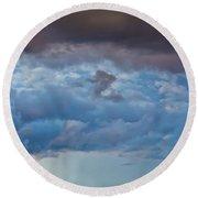 Stormy Blues - Casper Wyoming Round Beach Towel