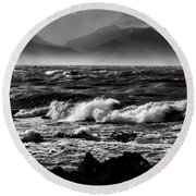 Stormy Coast New Zealand In Black And White Round Beach Towel