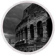 Stormy Colosseum Round Beach Towel