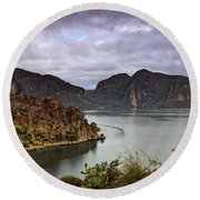 Stormy Day At The Lake  Round Beach Towel