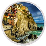 Stormy Day In Manarola - Cinque Terre Round Beach Towel