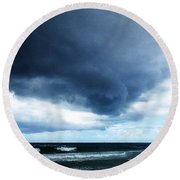 Stormy - Gray Storm Clouds By Sharon Cummings Round Beach Towel