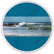 Stormy Lagune - Blue Seascape Round Beach Towel