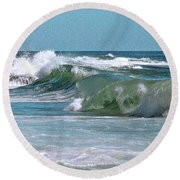 Stormy Lagune - Blue Seascape Round Beach Towel by Ben and Raisa Gertsberg