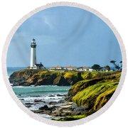 Stormy Lighthouse Round Beach Towel