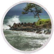 Stormy Maui Morning Round Beach Towel