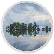 Stormy Morning On The Lake Round Beach Towel