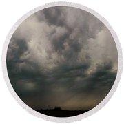 Stormy Nebraska Sunset Round Beach Towel