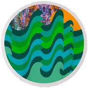 Stormy Sea Round Beach Towel
