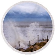Stormy Seafront - Impressions Round Beach Towel