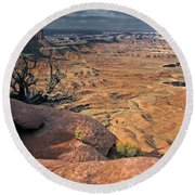 Stormy Skies In Canyonlands Round Beach Towel