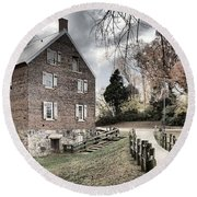 Stormy Skies Over The 1823 Grist Mill Round Beach Towel
