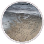 Stormy Skies Over The North Sea Round Beach Towel