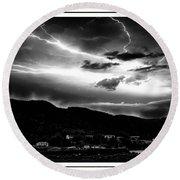 Stormy Sky - Lightening - Small Town Round Beach Towel