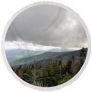 Stormy Smoky Mountains Round Beach Towel