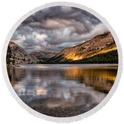 Stormy Sunset At Tenaya Round Beach Towel