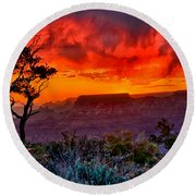 Stormy Sunset At The Watchtower Round Beach Towel