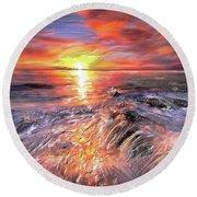Stormy Sunset At Water's Edge Round Beach Towel