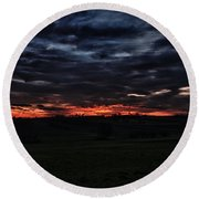 Stormy Sunset Round Beach Towel by Miguel Winterpacht