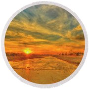 Stormy Sunset Over Santa Ana River Round Beach Towel