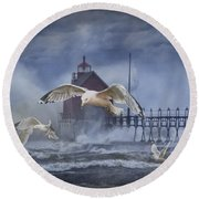 Stormy Weather At The Grand Haven Lighthouse Round Beach Towel