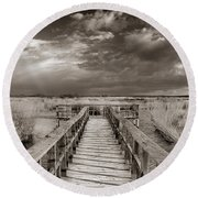 Stormy Weather At The Lake Vintage Round Beach Towel