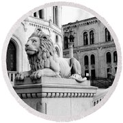 Stortinget Parliament Building Oslo Norway Round Beach Towel