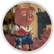 Story Telling Pig With Family Round Beach Towel