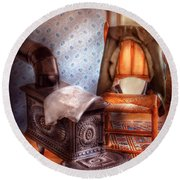 Stove - The Stove And The Chair  Round Beach Towel by Mike Savad