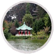 Stow Lake Chinese Pavilion Round Beach Towel