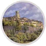 St.paul De Vence Round Beach Towel