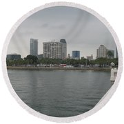 St.petersburg Bayfront From Pier Round Beach Towel
