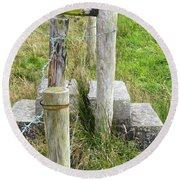 Straddle The Fence Round Beach Towel