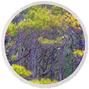 Straggly Pines Round Beach Towel