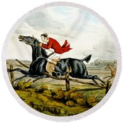 Straight Through The Fence From Qualified Horses And Unqualified Riders Round Beach Towel
