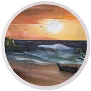 Stranded At Sunset Round Beach Towel by Cynthia Adams