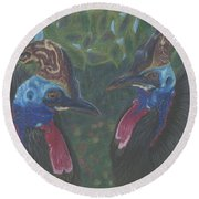 Strange Birds Round Beach Towel