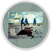 Strangeways Prison Riots Uk.1990s Round Beach Towel