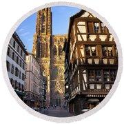 Strasbourg Cathedral Round Beach Towel
