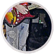 Strat Man  Round Beach Towel by Chris Berry