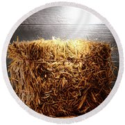 Straw Bale In Old Barn Round Beach Towel