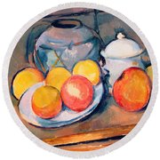 Straw Covered Vase Sugar Bowl And Apples Round Beach Towel