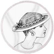 Straw Hat Round Beach Towel by Sarah Parks