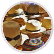 Straw Hats Round Beach Towel