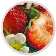 Strawberries And Vanilla Round Beach Towel