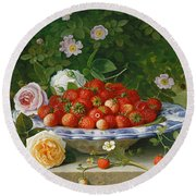 Strawberries In A Blue And White Buckelteller With Roses And Sweet Briar On A Ledge Round Beach Towel