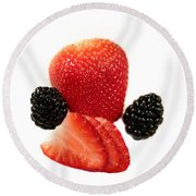 Strawberry Blackberry Round Beach Towel