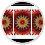 Strawberry Explosion Triptych - Kaleidoscope Round Beach Towel