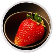 Strawberry In Nested Bowls Round Beach Towel